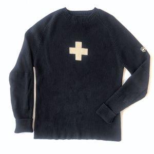 Victorinox Swiss Army black Ribbed knit Sweater M